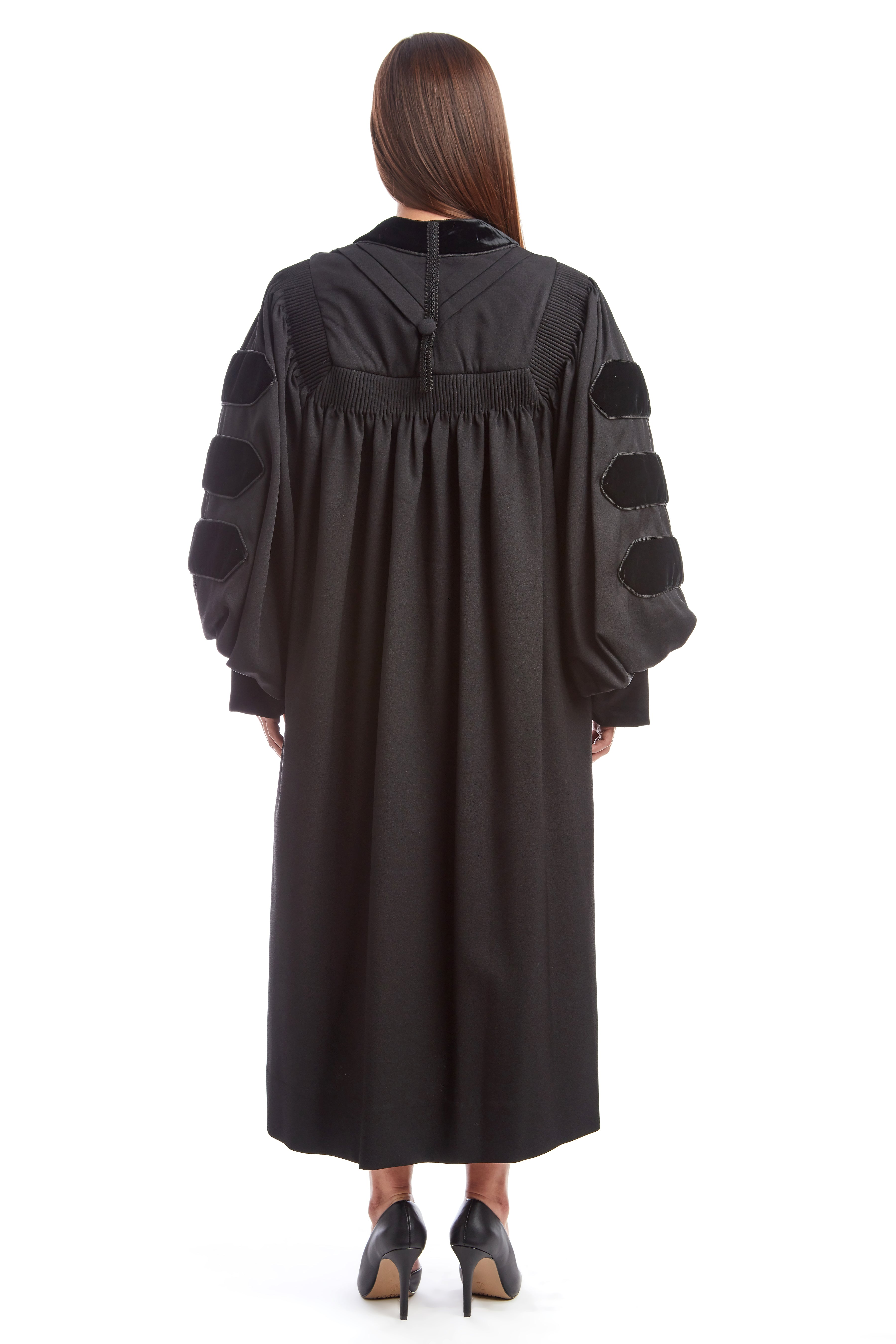 Premium Black Doctoral Gown with Black Piping for Graduation