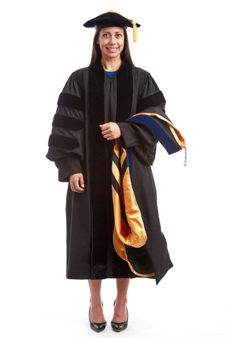 Premium Doctoral Black Gown, 8-Sided Cap / Tam, & PhD Hood Regalia Rental Set