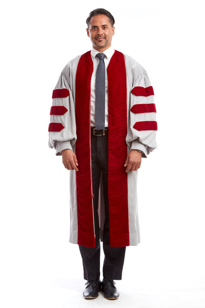 MIT Doctoral Gown. Grey with Cardinal Red Premium Velvet.