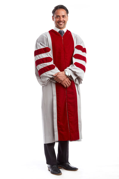 MIT Doctoral Gown, features Grey body with Cardinal Red Plush Velvet