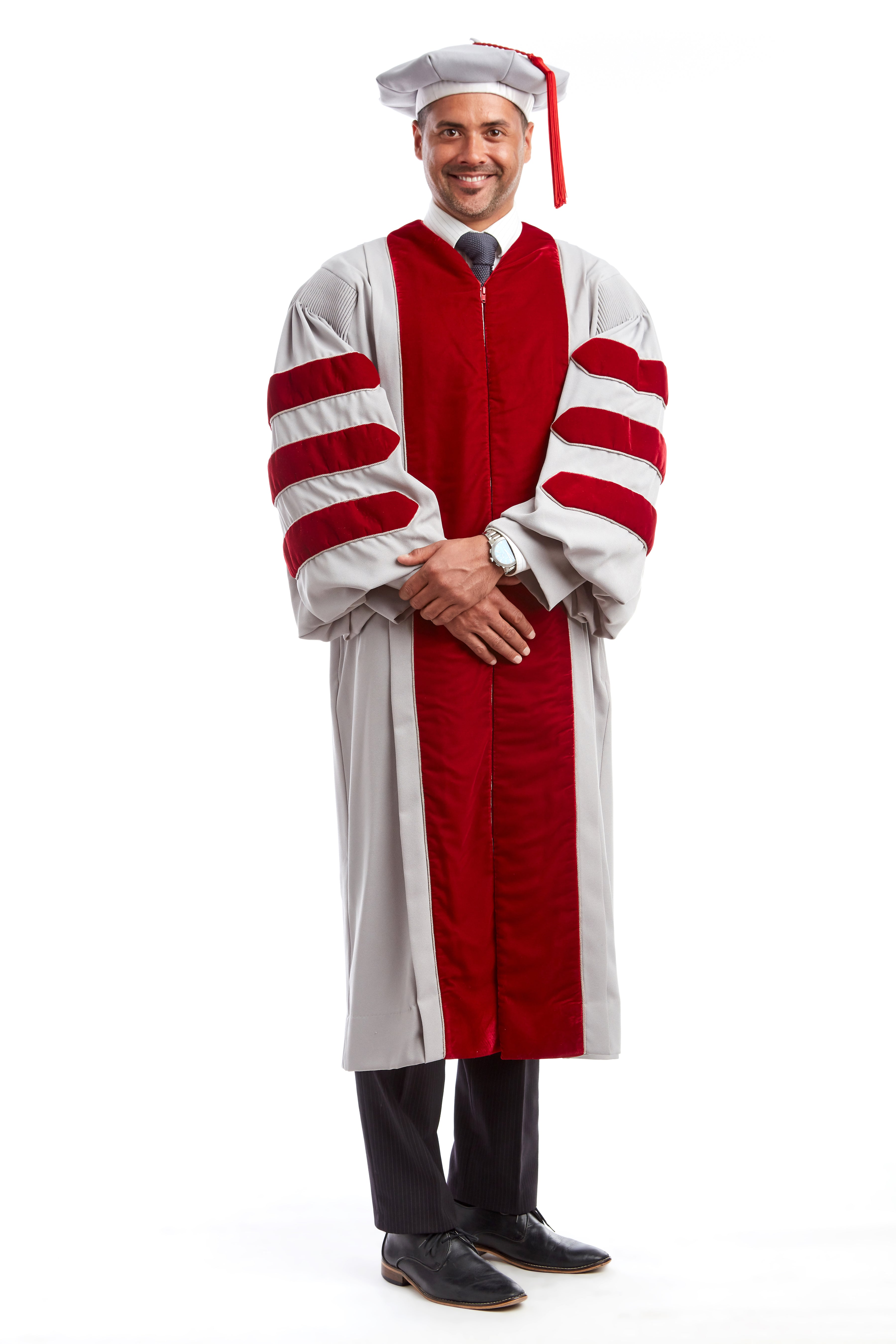 MIT Doctoral Regalia Set. Premium Grey and Cardinal Red Gown with Eight-Sided Cap/Tam including Red Tassel