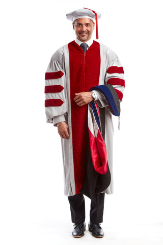 MIT Doctoral Regalia Set. Doctoral Grey and Cardinal Red Gown, PhD Hood, and Eight-Sided Cap/Tam including Red Tassel