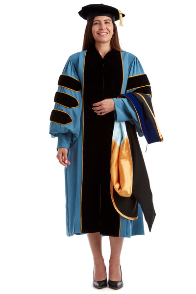 University of Michigan PhD Regalia Rental Set. Doctoral Gown, PhD Hood, and eight sided doctoral Tam with silk or gold bullion tassel