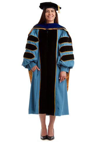 University of Michigan PhD Regalia Set. Doctoral Gown, Hood, and Eight Sided Doctoral Tam with Tassel