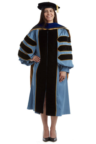 University of Michigan Doctoral Regalia Rental Keeper Set. Comes with Doctoral Gown, PhD Hood, and Tam!