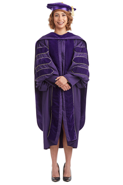 University of Washington PhD Regalia Rental Set. Doctoral Gown, Hood, and Eight Sided Doctoral Tam with Tassel