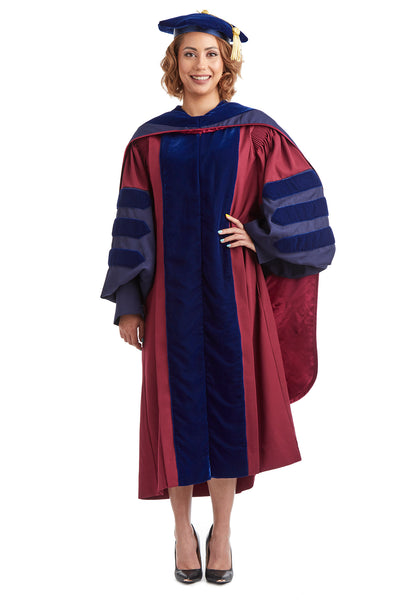 University of Pennsylvania PhD Regalia Set. Doctoral Gown, Hood, and Eight Sided Doctoral Tam with Tassel