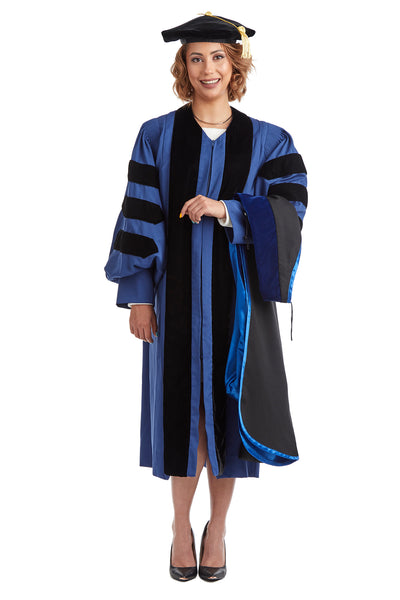 Yale University Doctoral Regalia Set. Doctoral Gown, PhD Hood, and Eight Sided Doctoral Tam with Tassel