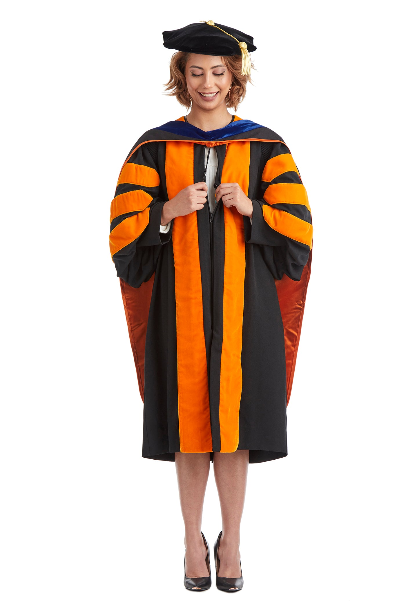 Princeton University Doctoral Regalia Set. Doctoral Gown, PhD Hood, and Eight Sided Doctoral Tam with Tassel