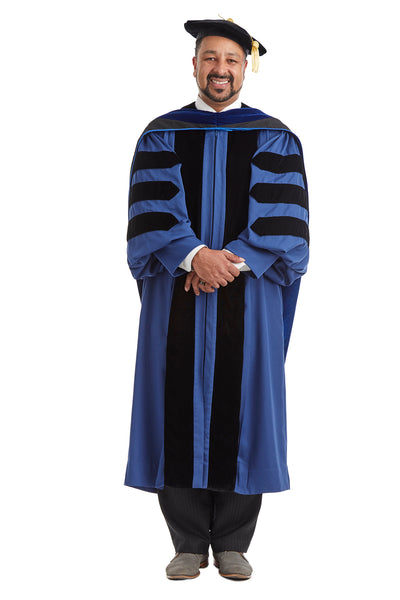 Yale University Doctoral Regalia Rental Set. Doctoral Gown, PhD Hood, and Eight Sided Doctoral Tam with Tassel - Rental Keeper