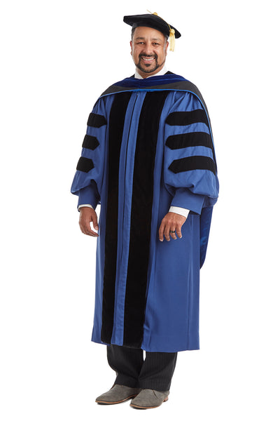 Yale University Doctoral Regalia Rental Set. Doctoral Gown, PhD Hood, and Eight Sided Doctoral Tam with Tassel