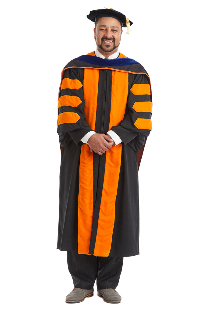 Princeton University Doctoral Regalia Rental Set. Doctoral Gown, PhD Hood, and Eight Sided Doctoral Tam with Tassel - Rental Keeper