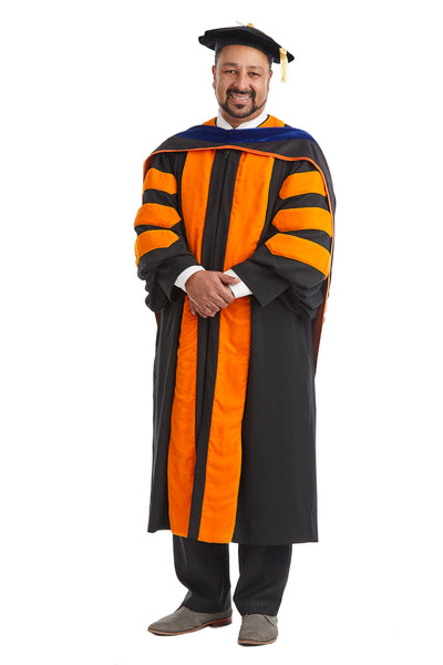 Princeton University Doctoral Regalia Rental Set. Doctoral Gown, PhD Hood, and Eight Sided Doctoral Tam with Tassel