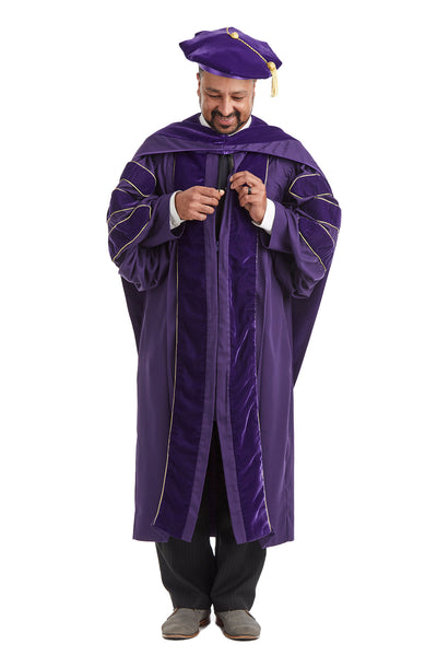 University of Washington PhD Regalia Set. Doctoral Gown, Hood, and Eight Sided Doctoral Tam with Tassel