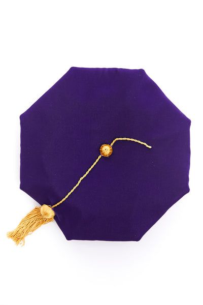 University of Washington 8-Sided Purple Velvet Doctoral Tam (Cap) with Silk Tassel - Rental Keeper