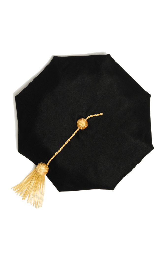 8-sided Black Velvet Doctoral Tam (Cap) for Graduation with Gold Bullion Tassel