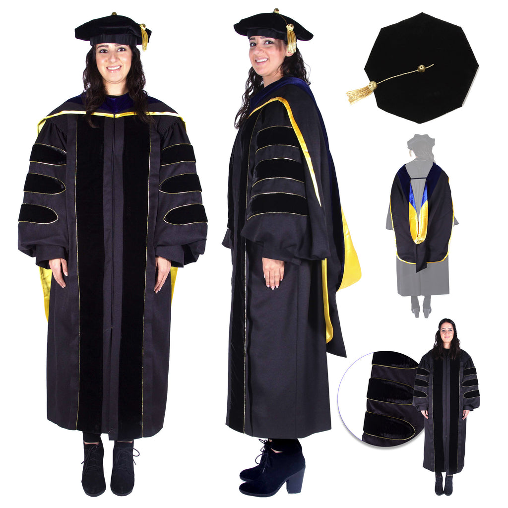 Premium Black PhD Gown, Cap, & Hood Regalia Set