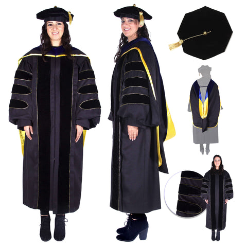 Premium PhD All Black Gown, Cap, & Hood Regalia Set