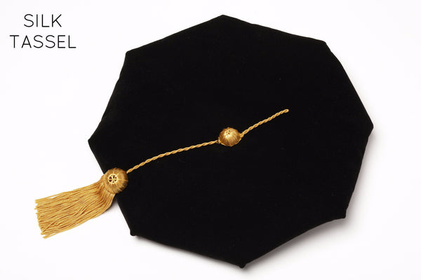 Stanford PhD Graduation Cap (Tam) Black Velvet with Silk Tassel