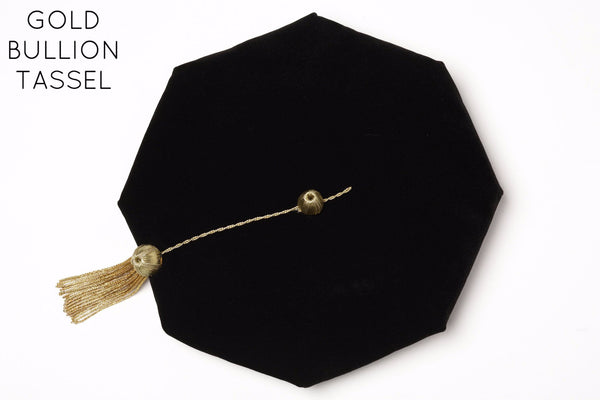 PhD Graduation Cap (Tam) Black Velvet with Gold Bullion Tassel