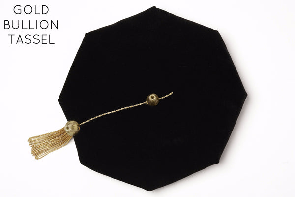 PhD Graduation Cap (Tam) Black Velvet with Gold Bullion Tassel Rental