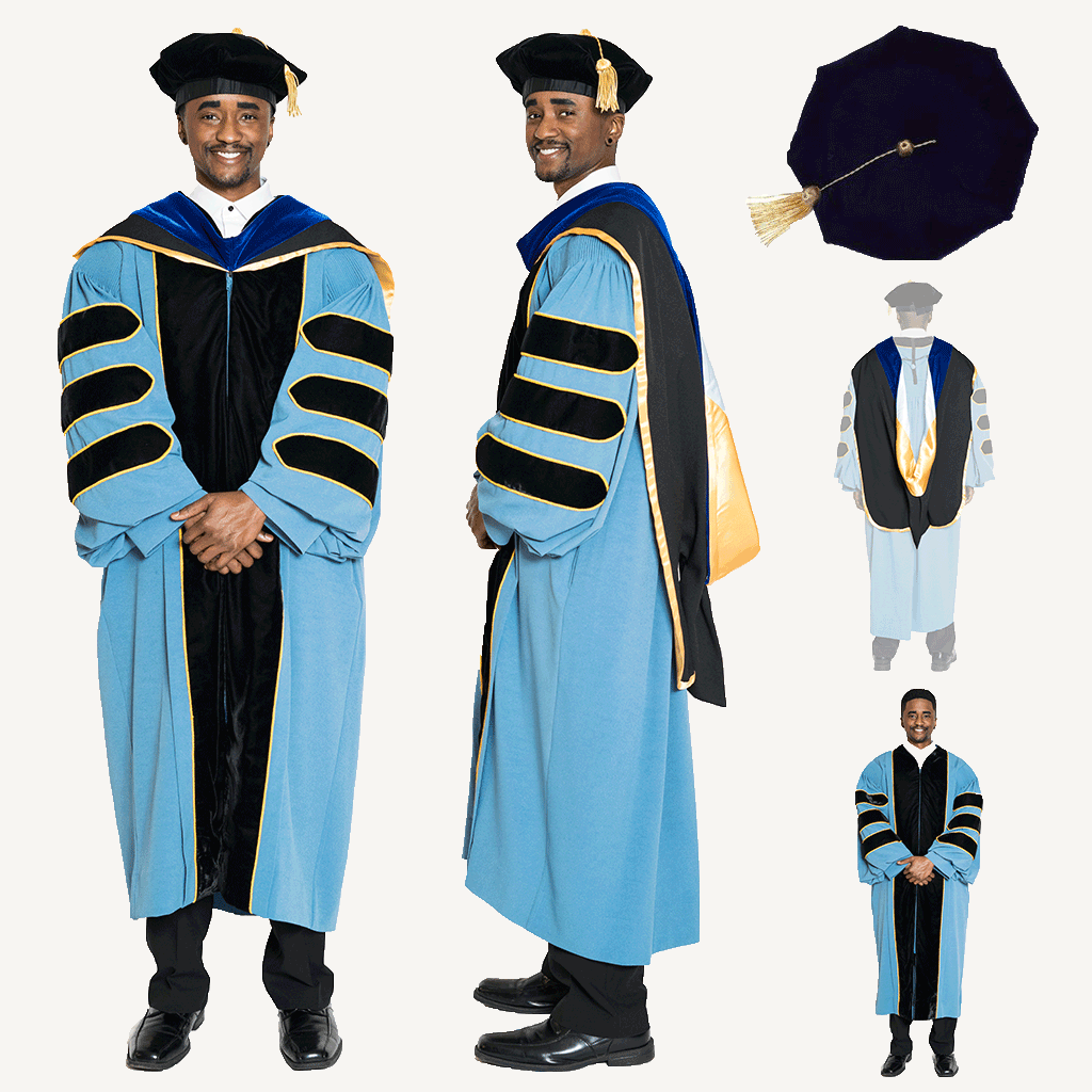 University of Michigan PhD Regalia Set. Doctoral Gown, Hood, and Cap / Tam