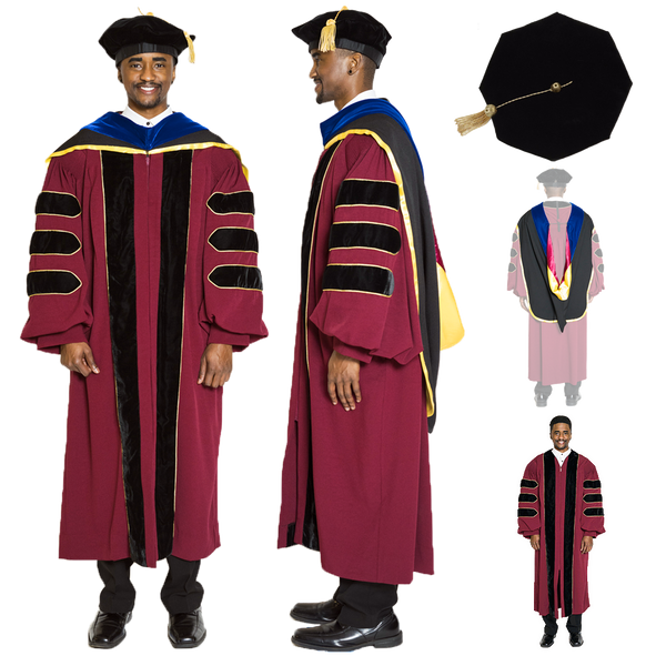 University of Minnesota Doctoral Regalia Set - PhD Gown, PhD Hood, and 8-sided Cap / Tam