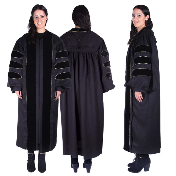 Premium Black PhD Gown for Graduation