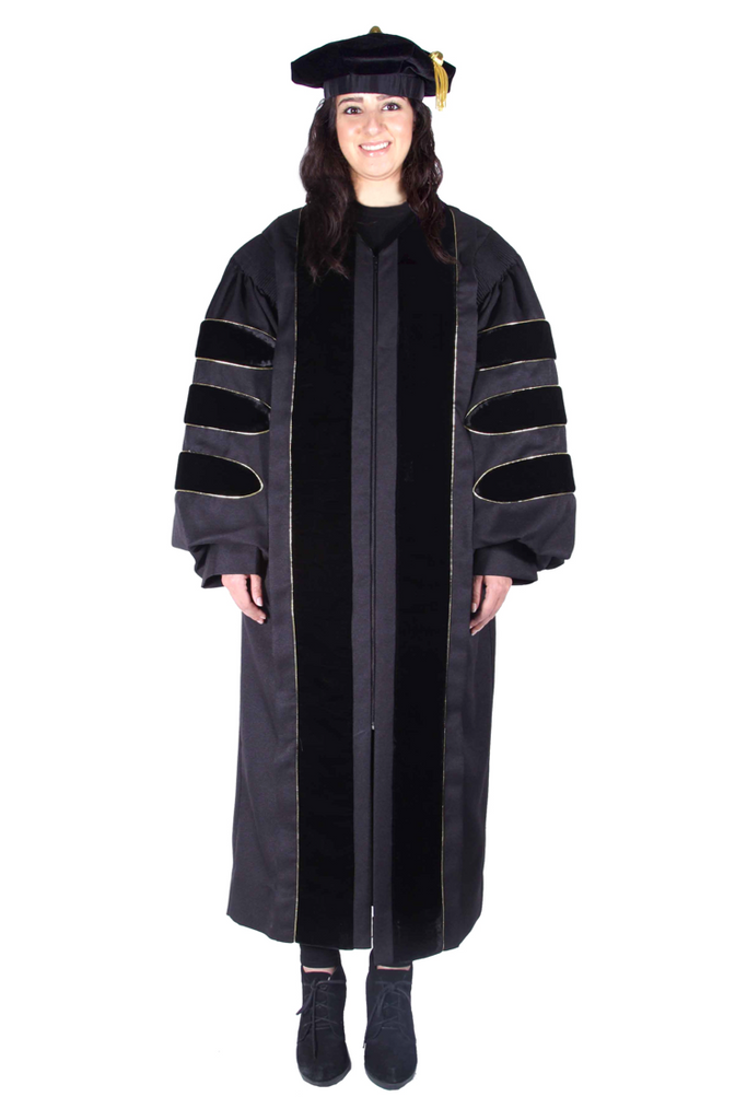 Premium Black PhD Cap & Gown Regalia Rental Set