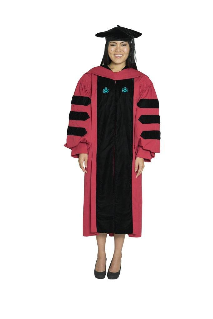Harvard University Doctoral Regalia, EdD Gown, Doctoral Hood, and 4-sided Velvet Cap / Tam