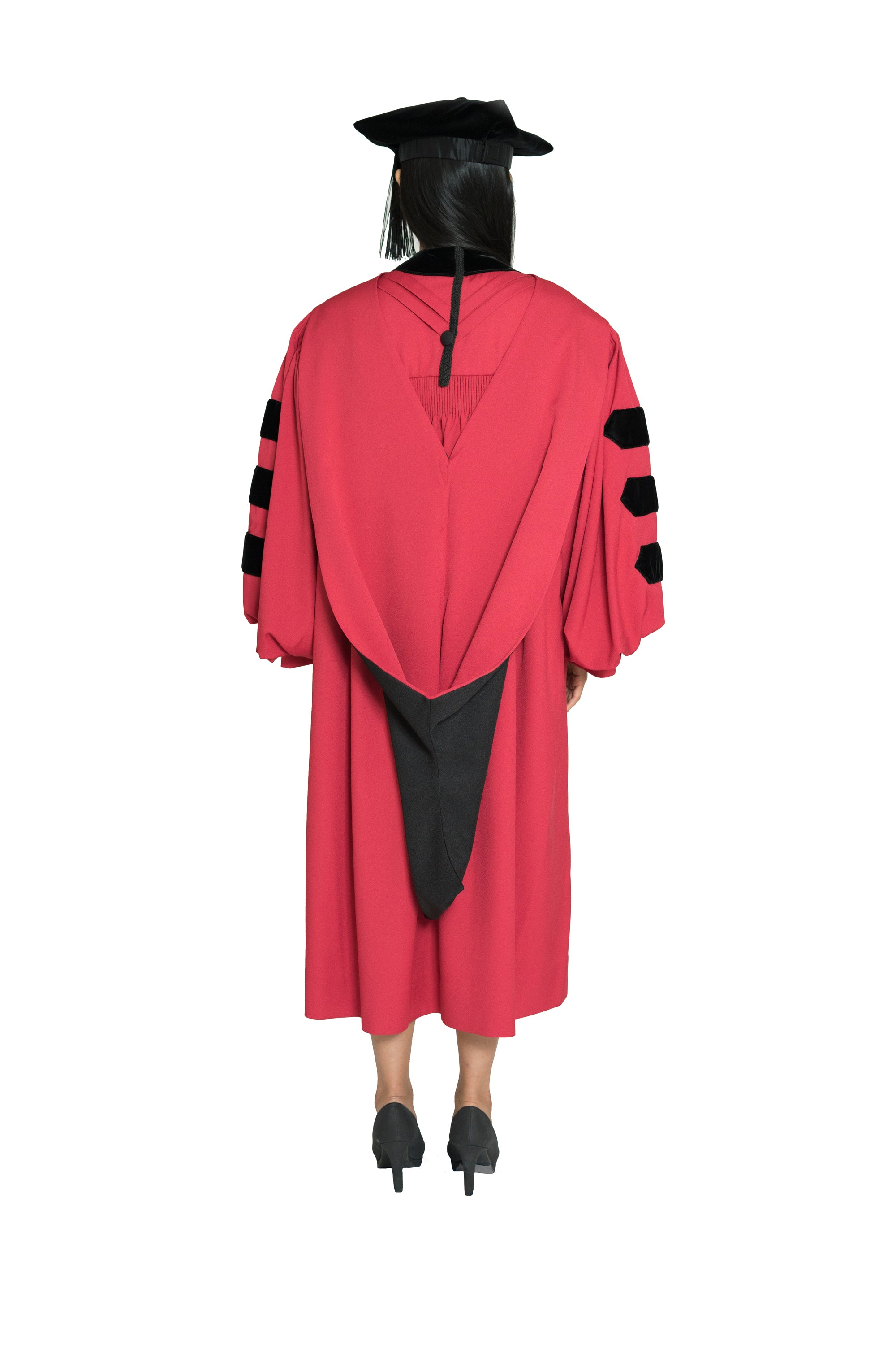Harvard University Doctoral Regalia, PhD Gown, Doctoral Hood, and 4-sided Velvet Cap / Tam
