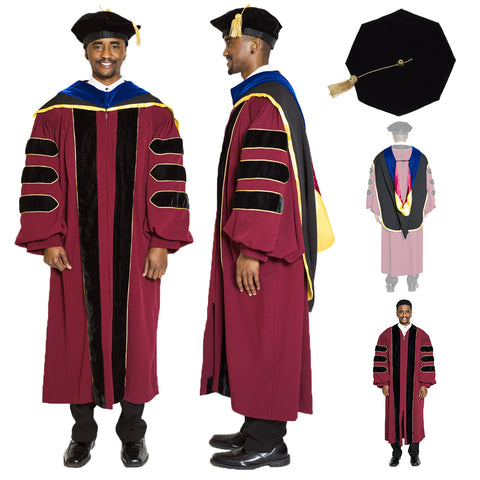 University of Minnesota Doctoral Regalia Set - Doctoral Gown, PhD Hood, and 8 sided Cap / Tam w Gold Tassel