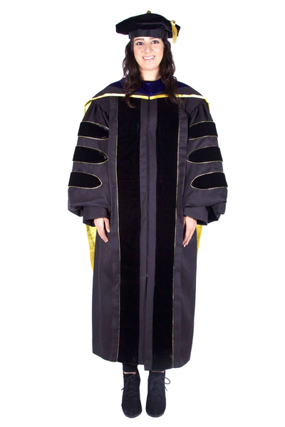 Premium PhD Black Gown, Cap, & Hood Regalia Set