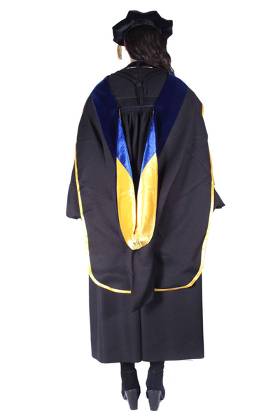 Premium PhD All Black Gown, Cap, & Hood Regalia Rental Set