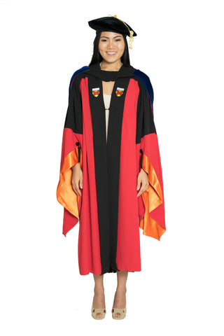 Stanford Complete Doctoral Regalia Set - Traditional Doctoral Gown, PhD Hood, and Eight-Sided Cap/Tam with Gold Tassel