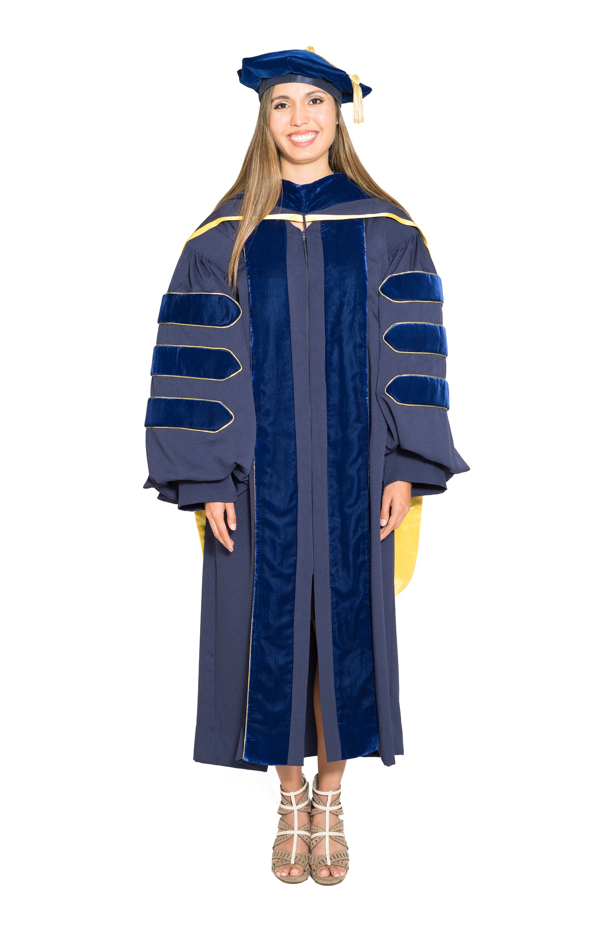 University of California Complete Doctoral Regalia - Doctoral Gown, PhD & M.D. Hood, and 8-sided Cap (Tam) with Tassel