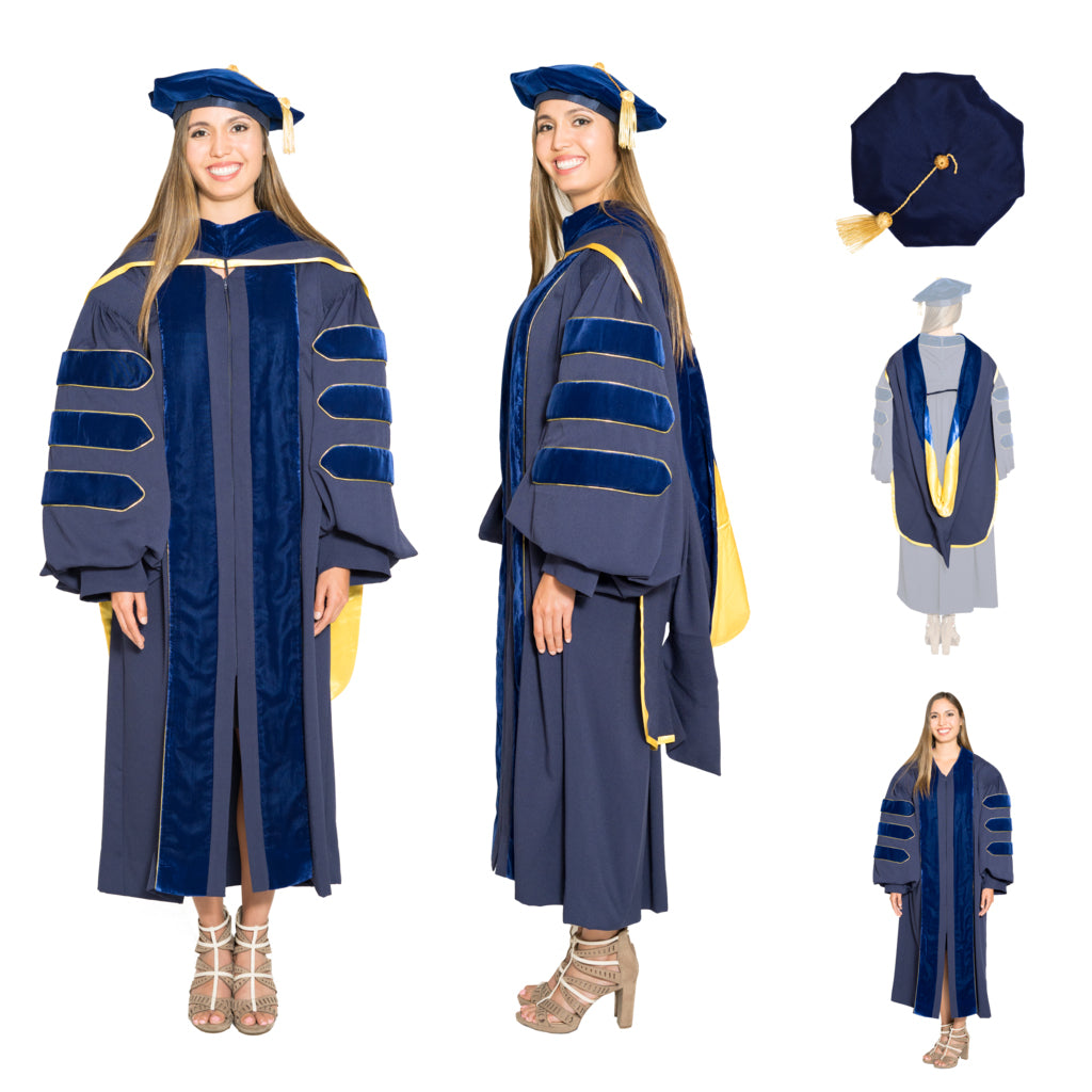 University of California Complete Doctoral Regalia Set - Doctoral Gown, PhD & M.D. Hood, and 8-sided Cap (Tam) with Tassel