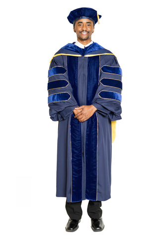 University of California Doctoral Gown, PhD Hood, & 8-Sided Cap Regalia Set