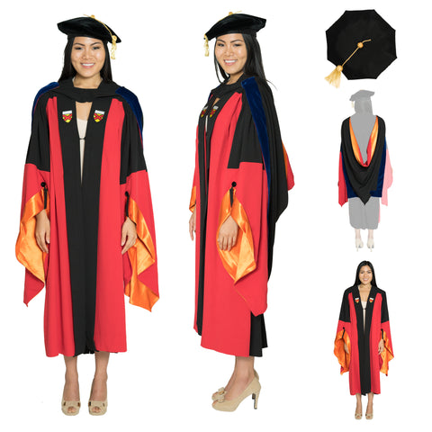 Stanford Classic Complete Doctoral Regalia Set - Classic Doctoral Gown, PhD Hood, and Eight-Sided Cap/Tam with Tassel