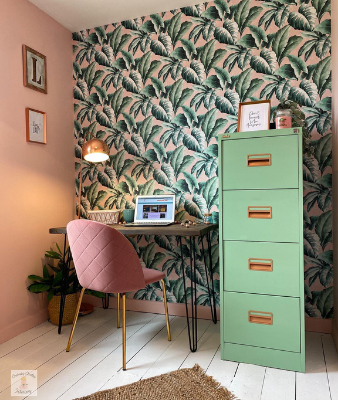 green home office cabinet