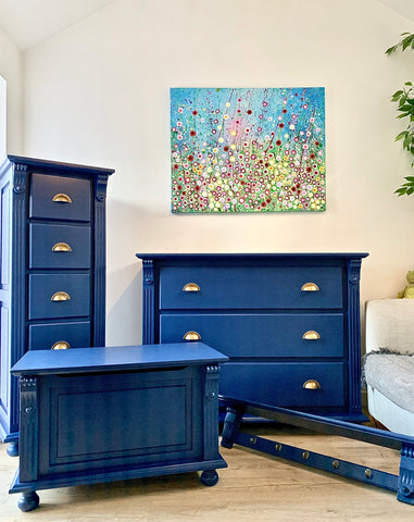 blue hand painted furniture