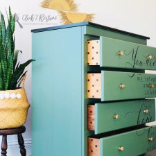 green hand painted chest of drawers