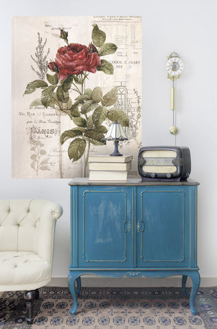 furniture transfers on blue cabinet