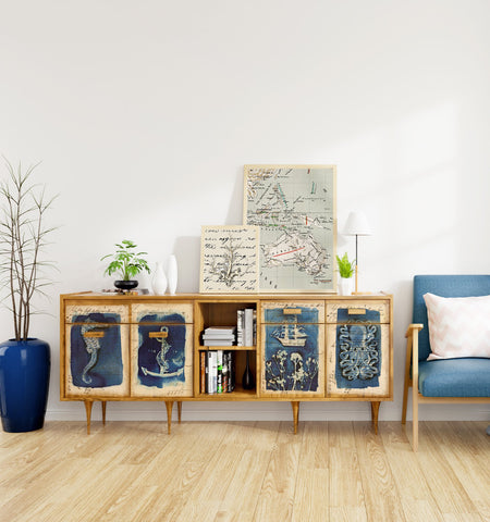 hand painted freestanding cabinet