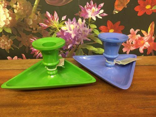 Gisela Graham Pair Of Funky Metal Candle Holders, retro, Green, Blue, triangle,