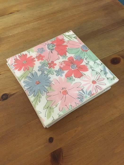 , pink, blue, green, Gisela Graham Floral Set Of 4 Coasters