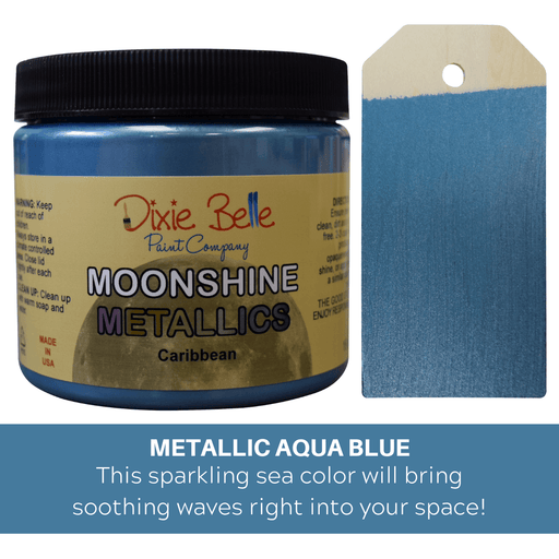 Moonshine Metallic - Caribbean Blue - Dixie Belle Paint, Dixie Belle Paint, Shabby Nook dixie belle mineral chalk paint
