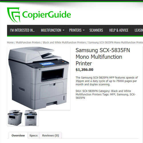 Samsung SCX-5835FN Monochrome Multifunction Laser Printer Copier Scanner Fax REPOSSESSED - Precision Toner