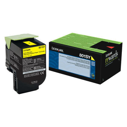 Lexmark 80C1SY0 OEM Yellow Return Program Toner Cartridge