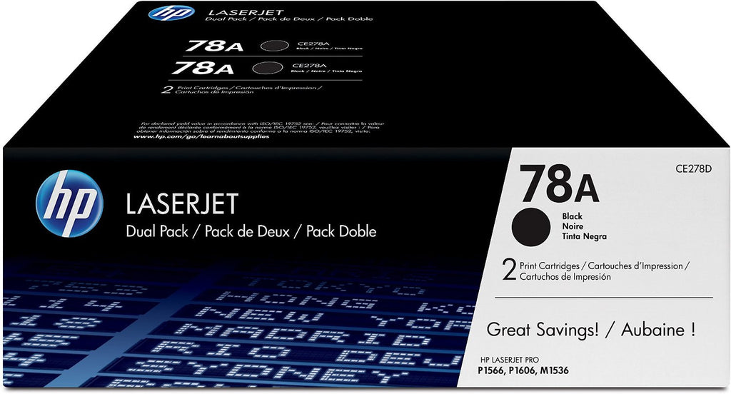 2 HP CE278A OEM Black Toner Cartridge Combo (HP 78A)